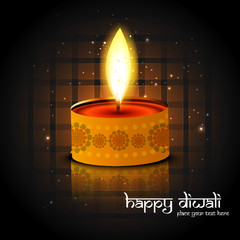 Beautiful reflection Diwali lamp bright colorful background