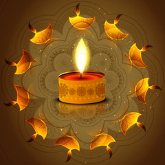 Diwali festival diya reflection on artistic colorful background