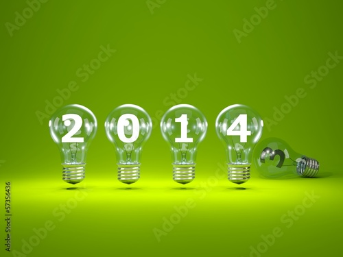 2014 New Year sign inside light bulbs