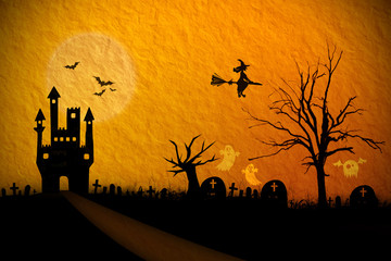 Halloween night background with creepy castle and ghost