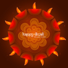 Artistic Beautiful diwali card colorful illustration vector