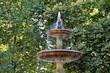 Fontaine avec jet d'eau sur fond de feuillage vert.