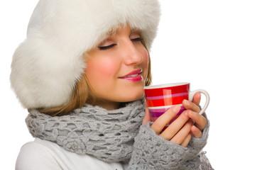 Young girl with mug