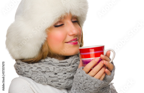 Young girl with mug