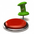 Illustration of fun green thumbtack near red button