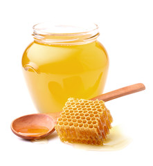Fresh honey with honeycomb