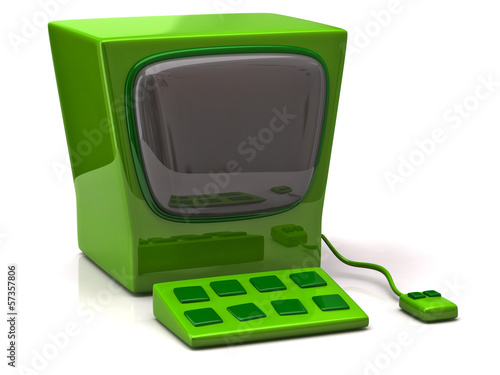 Retro green computer isolated on white background