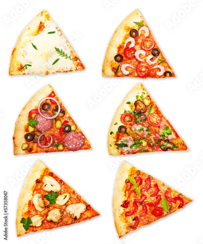 Pizza slice with different toppings isolated on white