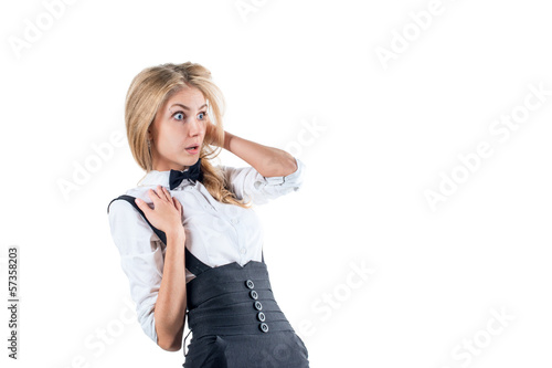 shocked  afraid surprised young businesswoman