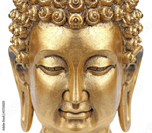 bouddha doré, bambou et fleur blanche de lotus