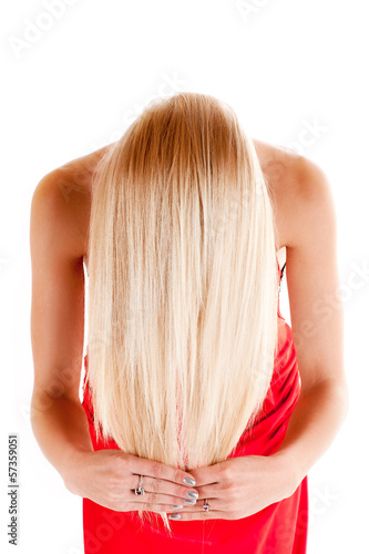 beautiful healthy hair. blond woman