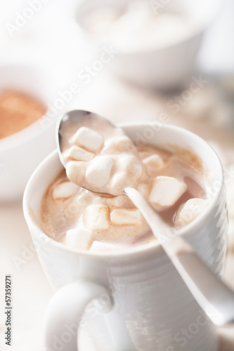 cocoa with small marshmallows in spoon