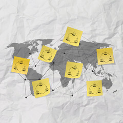 sticky note social network icon on crumpled paper background as
