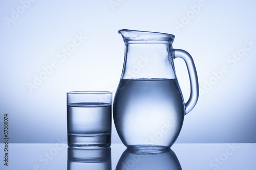 water glass and jug on blue background