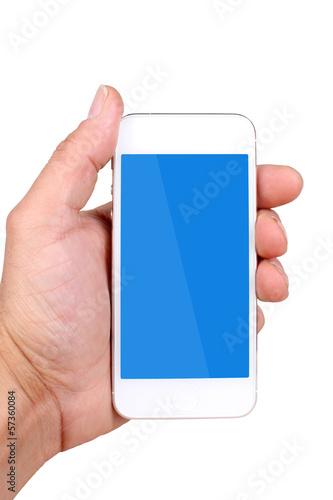 canvas print picture Smartphone in der Handy, blau