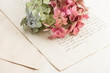 old love letters and garden flowers hydrangea