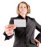 Business woman showing a card