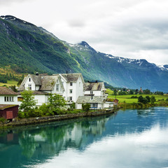 Houses in rural town Olden in Norway