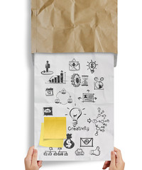 great jobs words sticky note with business strategy crumpled env