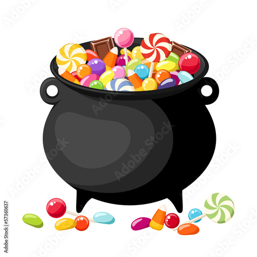 Halloween candies in witches cauldron. Vector illustration.