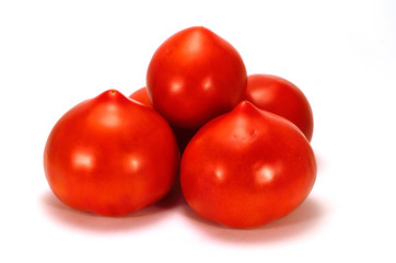 bunch of tomatoes on a white background