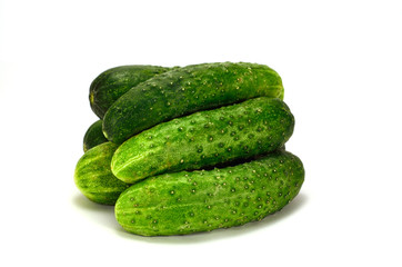 bunch of cucumbers on a white background