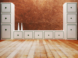 lockers in an empty room with the vases