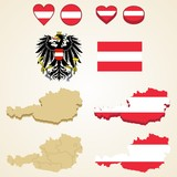 Austria Map, Vector 3D pack of Austria and flag
