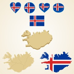 Iceland Map, Vector 3D pack of Iceland and flag