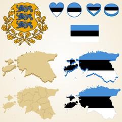Estonia Map, Vector 3D pack of Estonia and flag