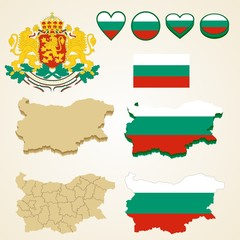Bulgaria Map, Vector 3D pack of Bulgaria and flag