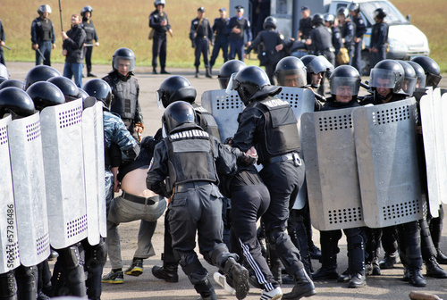 Kiev, UKRAINE - SEPTEMBER 23: Ukrainian police to prevent distur