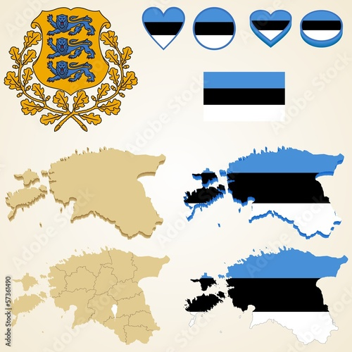 Estonia Map, Vector 3D pack of Estonia and flag
