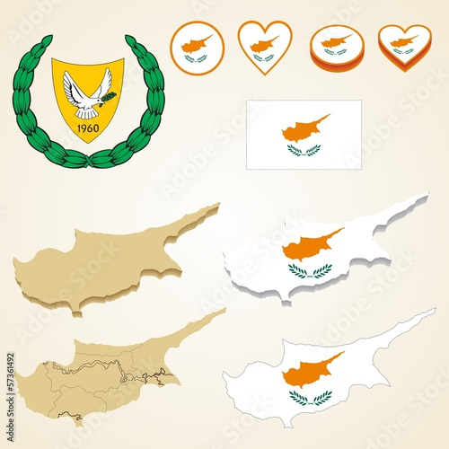 Cyprus Map, Vector 3D pack of Cyprus and flag