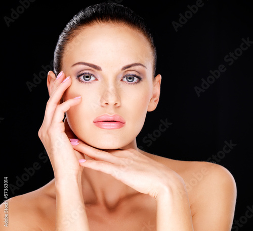 Beautiful sensual face of the adult  woman