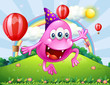 A happy pink beanie monster jumping at the hilltop