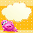 A fat pink monster with an empty cloud template at the back
