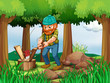 A tired woodman chopping the woods in the forest