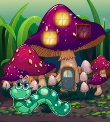 A worm near the mushroom house