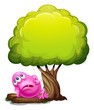 A fat pink beanie monster resting under the giant tree