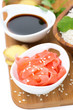 Asian food ingredients (ginger, soy sauce, rice) , top view