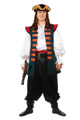 Smiling man in pirate costume