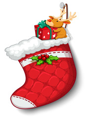 A deer hugging the gift above the red sock