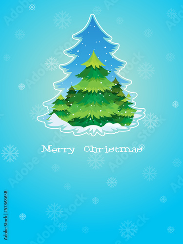 A blue christmas card template with a pine tree in the middle