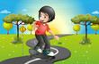A boy skateboarding at the road
