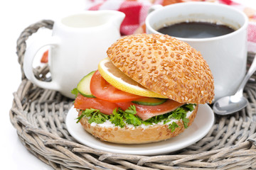 breakfast - burger with smoked salmon, vegetables