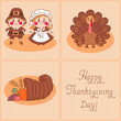 Set of vintage cards on the day of Thanksgiving.