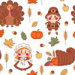 Seamless pattern with symbols of Thanksgiving Day