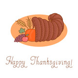 Thanksgiving Day. Cornucopia. Vector Illustration.