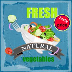 Fresh vegetables eat.Tasty price.Vector background